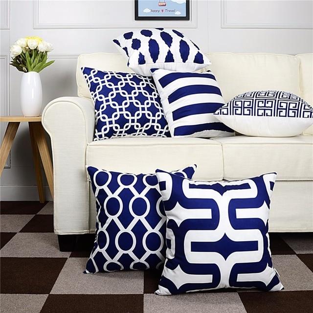 Topfinel Geometric Decorative Throw Pillow Cases Cushion Covers Navy Blue  For Sofa Seat Chair Microfiber Decorative