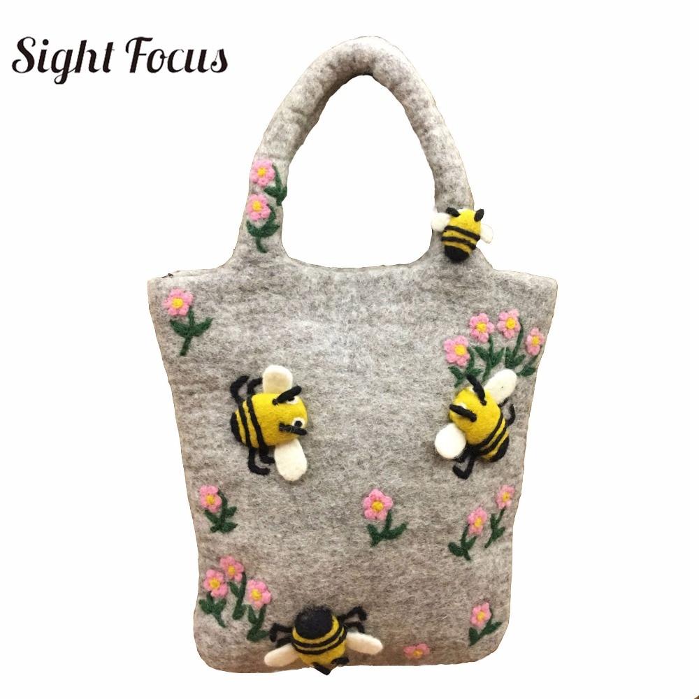 Sight Focus brand fashion lady pure wool bag felt tote bag bee flowers big shoulder bag  woman felt casual travel handbag grey tote bag