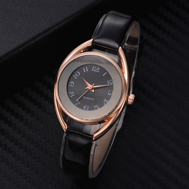 Leather Strap Wrist Watches For Women Rose Gold Rolling Rhinestones Ladies Sport