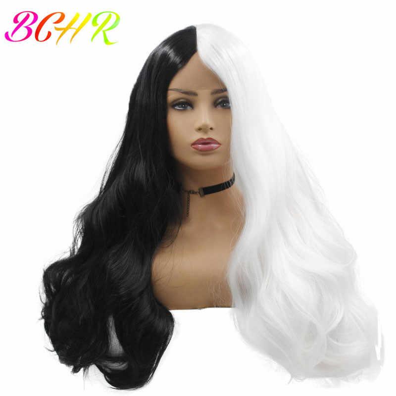 BCHR белый черный парик с кружевом спереди для женщин длинные волнистые синтетические парики термостойкие волокна кружева косплей парик