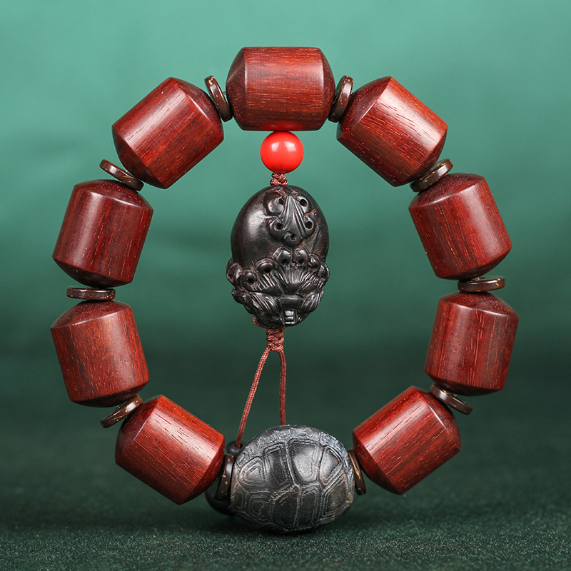 Mr Lou original lobular rojo barril de madera de sándalo cuenta alto aceite antiguo material organizar grano de rosa de Venus círculo único Cordón de cuentas