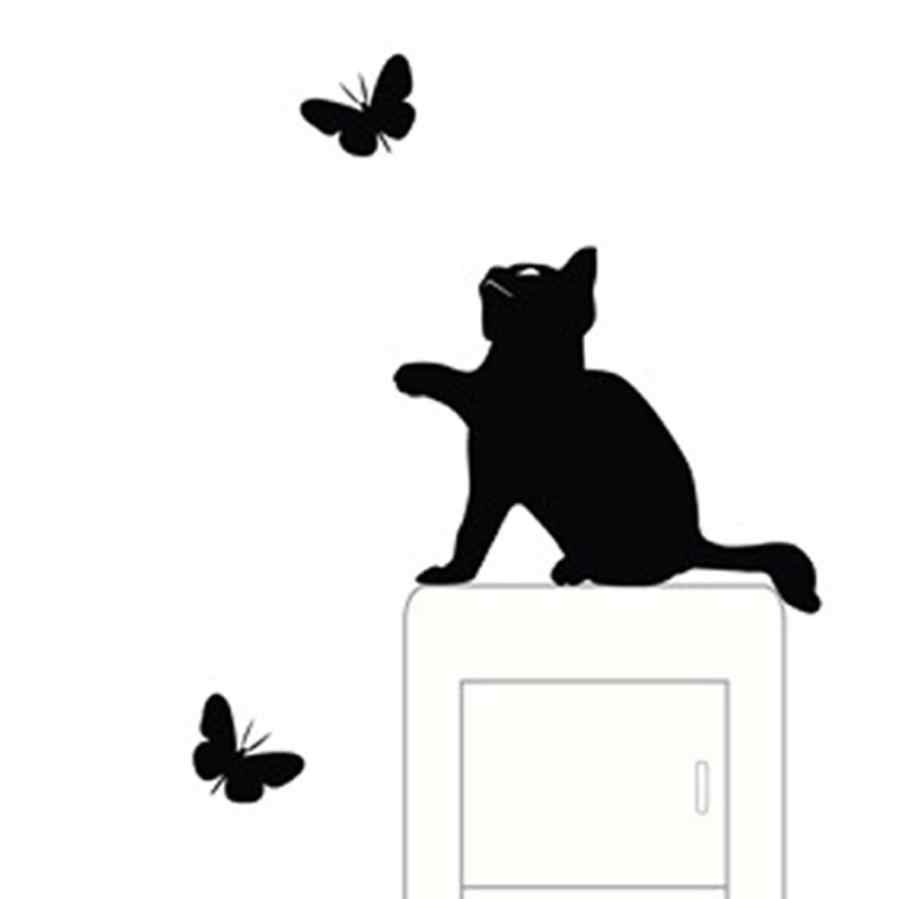 Cat Light Switch Sticker Room Window Decorating Switch Vinyl Decal Sticker Decor Cartoon Home Decoration L924