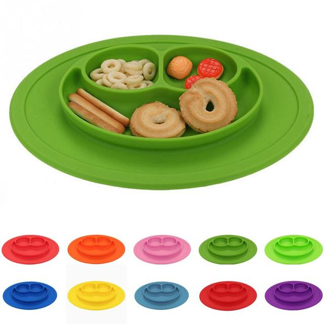 2018 New Infants Ellipse Silicone Feeding Food Plate Tray Dishes Food Holder for Baby Toddler Kid Children more color