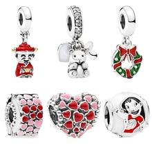 Original 925 Beads God of wealth Bear Love Girl Bead Jewelry Making Charms Fit Pandora Bracelets Necklace Women DIY цена