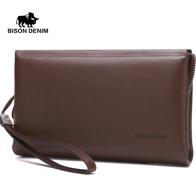 BISON DENIM  mens wallets luxury famous brand Cowskin High Quality Men Clutch Men Big Capacity Wrist Strap Wallet Bag
