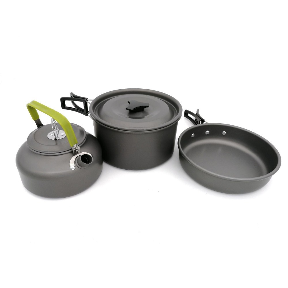 Image 3 - 3Pcs/Set Outdoor Camping Takebleware Portable Hiking Picnic Teapot Pot Set Cookware Mess Kit Cookware Set-in Outdoor Tablewares from Sports & Entertainment