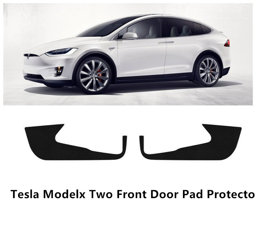 Carbon Fiber Cover Sticker Anti-Kick Pad Protector Mat For Tesla Model X 2Pc