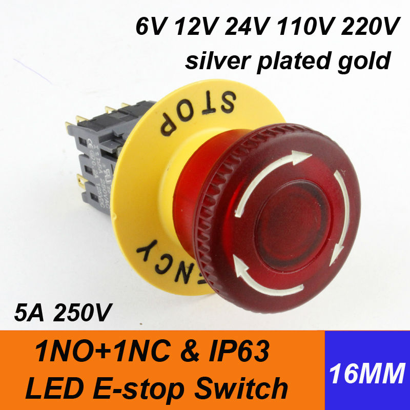 1pcs shipping free HABOO 16mm led emergency push button switch 24V 110V 220V red mushroom head led lighting switch IP63