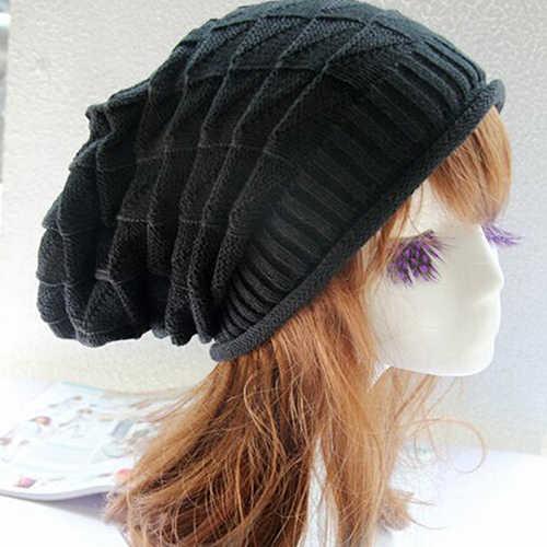 Bluelans z wzorem w romby Tricorne dzianinowa zimowa ciepła szydełkowa czapka pleciona Baggy Beret Beanie Cap