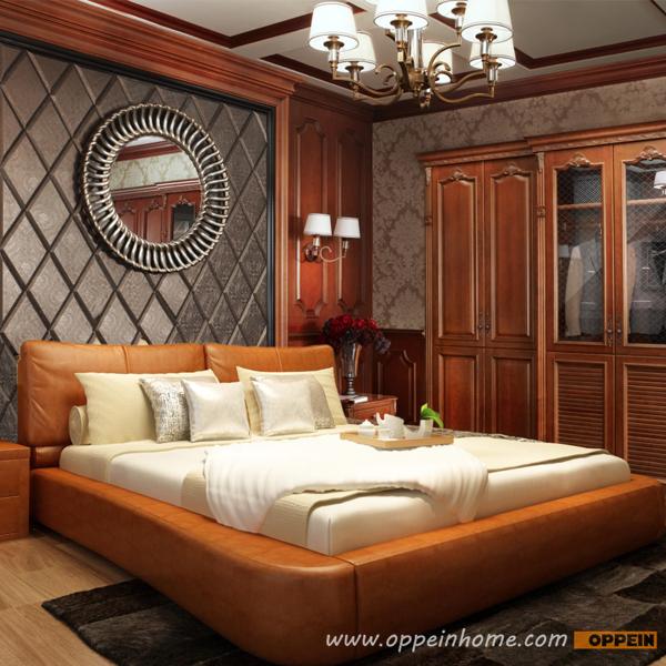 OPPEIN Hot Sell Cherry Wood Bed / Soft Bed/double Bed King/queen Size  Bedroom Home Furniture Hot Sale Style OP SH667 In Beds From Furniture On ...