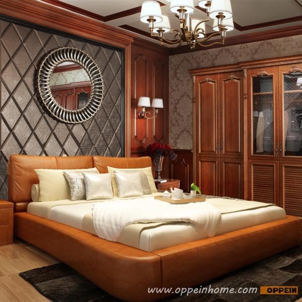 Oppein venda quente cama de madeira de cerejeira cama for Ofertas de camas king size