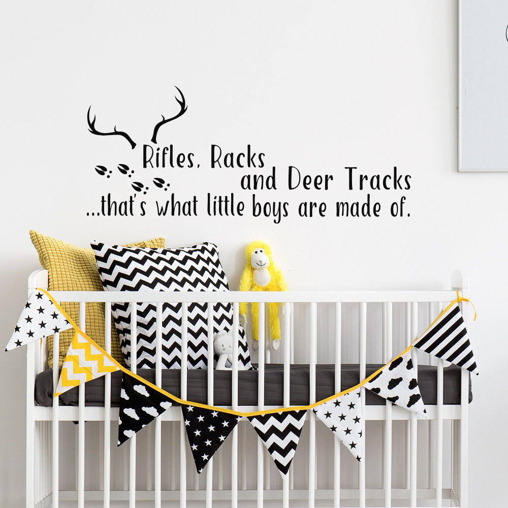 Lovely Antlers Wall Stickers Quote Rifles Racks And Deer Tracks Hunting Themed Kids Room Decal Adhesive Removable ArtSYY169