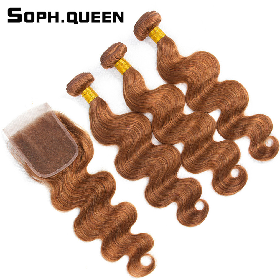 Soph queen Body Wave Blonde Bundles With Closure Pre Colored 30 Peruvian Remy 100 Human Hair