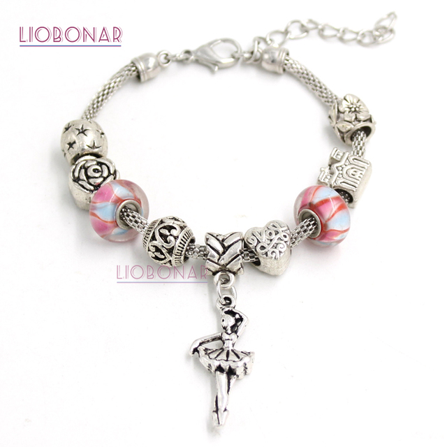 10pcs Lot Whole Fashionable Jewelry Dance Ballerina Charm Lampwork Murano Gl Bracelets For S Gift