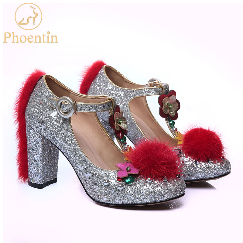 Phoentin Silver wedding shoes with fur bling synthetic super high heels ladies flower shoes T strap
