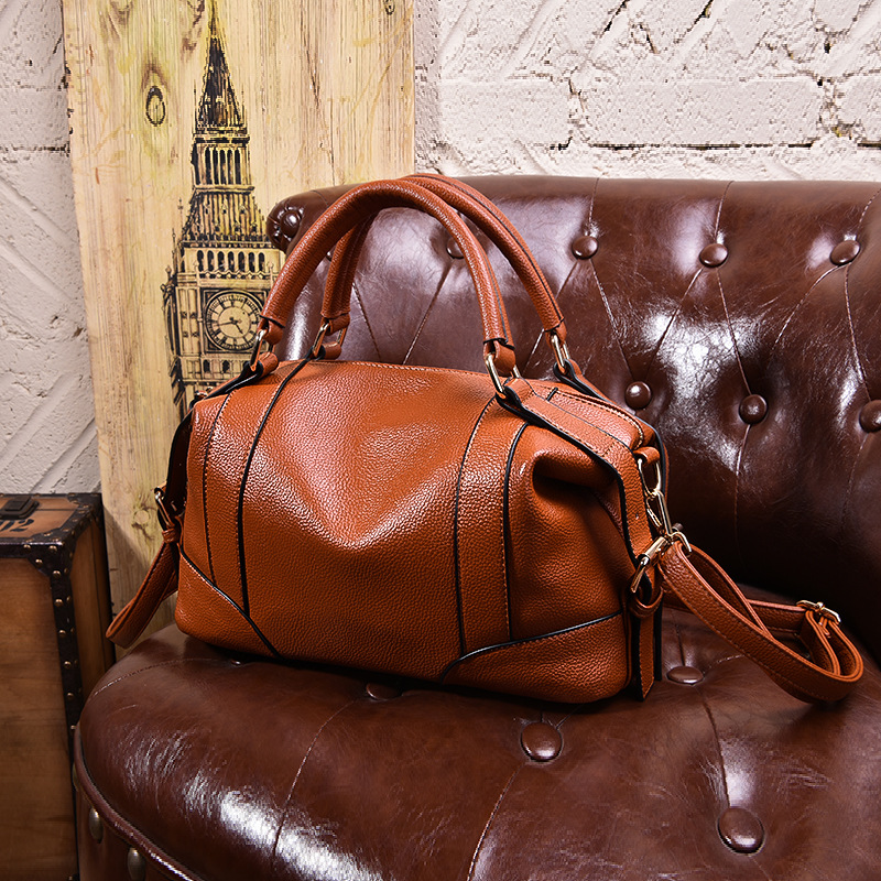 High Quality 100% Genuine Leather Women's Handbags Vintage Shoulder CrossBody Bags For Women Leather Top HandleTote Bags Women-in Top-Handle Bags from Luggage & Bags    1