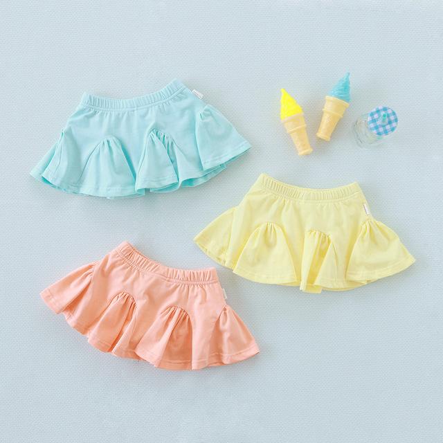 2016 niños del Verano nuevos de color caramelo de algodón culottes falda fábrica directa 3 colorls al por mayor envío gratuito