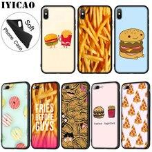 IYICAO Nette lebensmittel französisch frites burger pizza Weichen Silikon Telefon Fall für iPhone XR X XS 11 Pro Max 6 6S 7 8 Plus 5 5S SE 10 Abdeckung