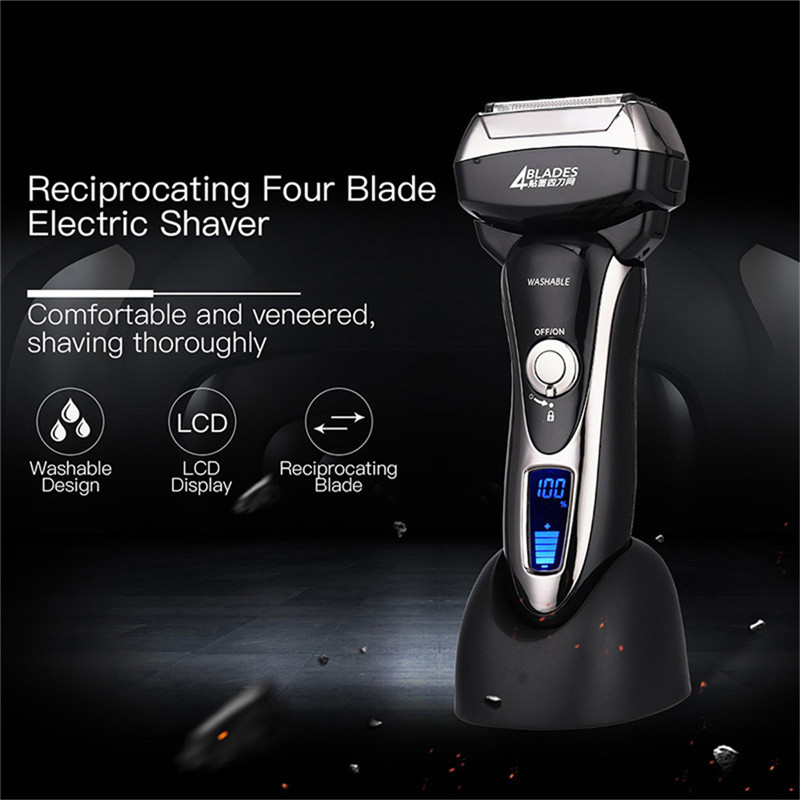 100 240V Rechargeable Electric Shaver 4 Blade Washable Electric Shaving Razors LCD Display Beard Trimmer Men