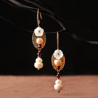 The Original Folk Style Long Earrings Earrings Fashion Pearl Pendant Chinese Handmade Earrings Vintage Exaggerated Wind