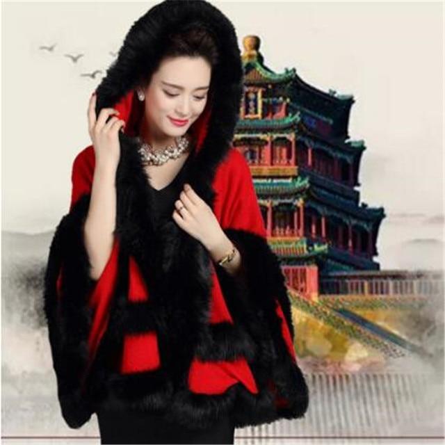 Womens Fake Raccoon Hooded Fur Collar Poncho Cape Cardigan Bridal Wedding Dress Shawl Wool Vest 5