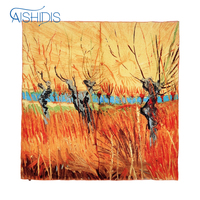 100 Silk Square Style Scarf Oil Painting Print Van Gogh S Willow At Sunset Lady Elegant