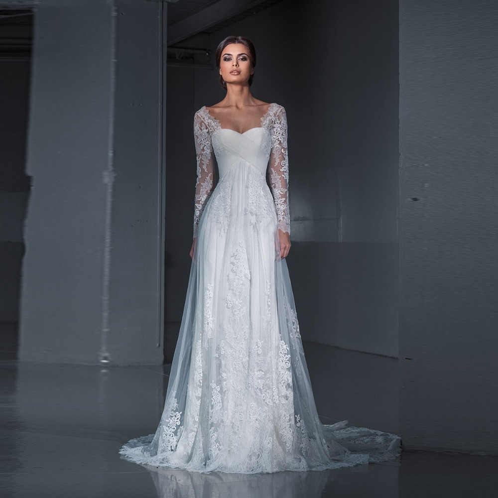 New Design Mermaid Inside Wedding Dress 2019 Lace Bride Dress Long Sleeves Lace Sweep Train vestido de noiva Lady White Dress