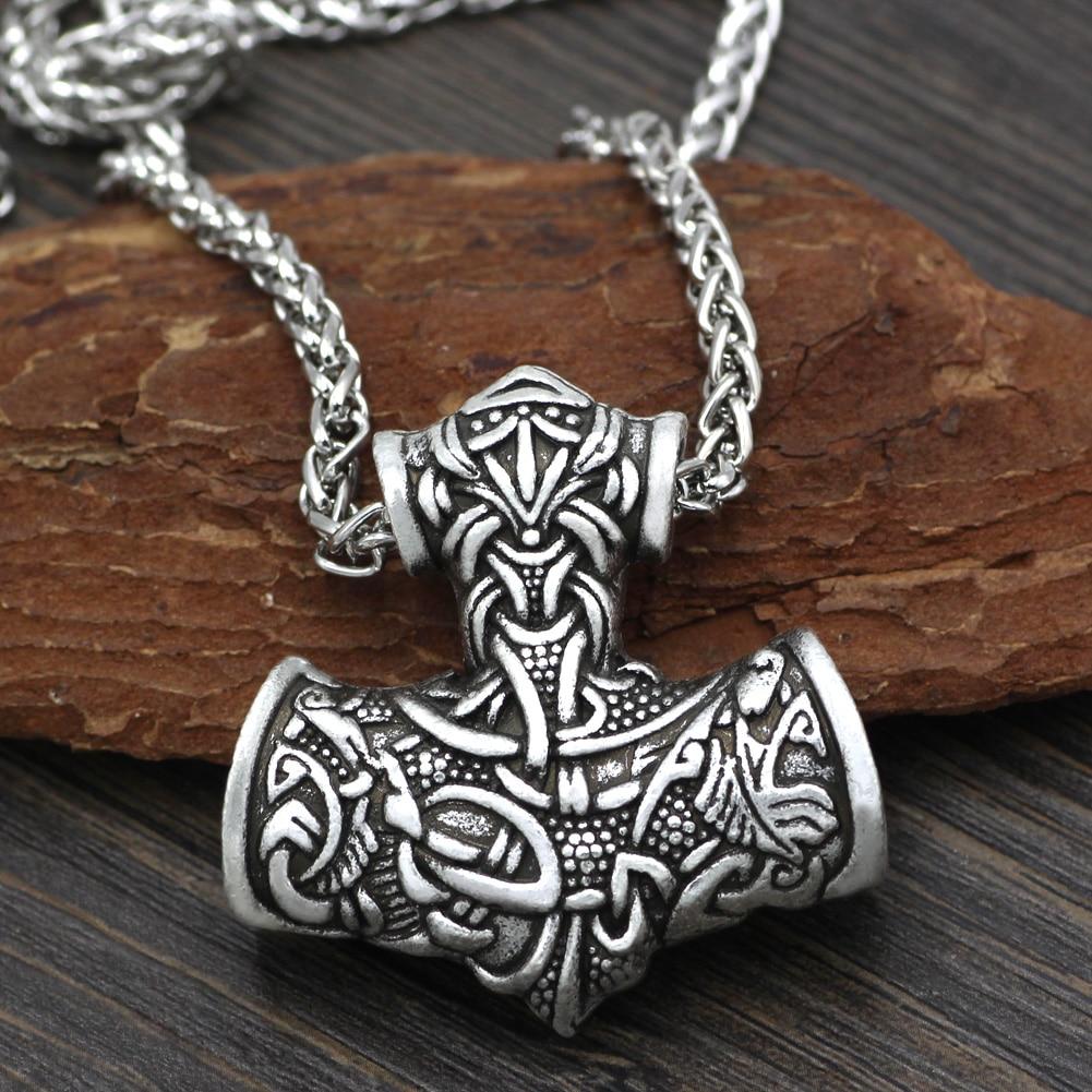 Mężczyźni Norse Viking Super L Amulet duży Thor młot Mjolnir Odin wilk Amulet wisiorek naszyjnik z torbą na prezent