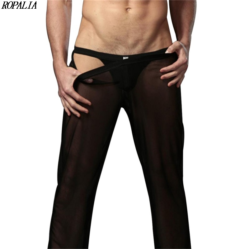 Men's Sexy Mesh Sheer See-Through Loose Fit Pants Straight Leg Nightwear Breathable Low Waist Mesh Sleep Bottoms