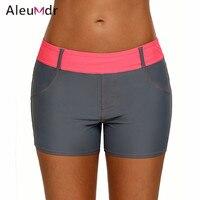 Aleumdr 2018 Swimwear Women Bikini Bottoms Waistband Faux Denim Sports Shorts Gym Workout LC410460 Bikini Parte