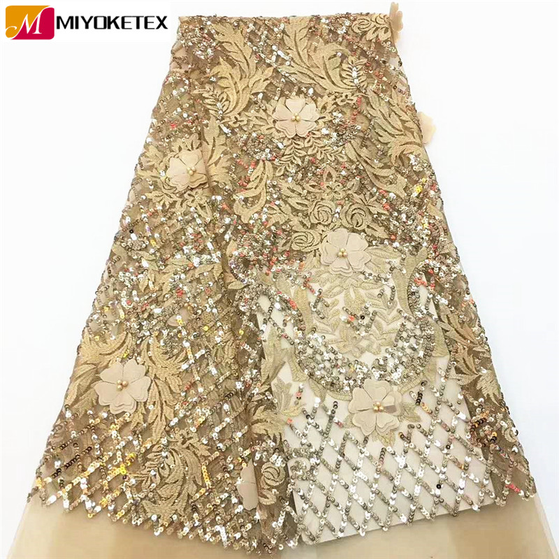 Best Quality Sequins Lace Latest African Lace Fabric 3D Flower Applique Afican French Wedding Lace Fabric For Dress CDA136-1