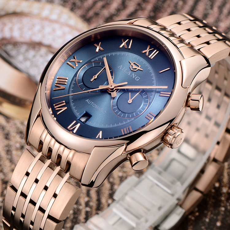 AILANG Brand Fashion Men Watch Blue Automatic Mechanical Wrist Watches Power Reserve SeaGull Clock with Box Hot Sale A008 fashion fngeen brand simple gridding texture dial automatic mechanical men business wrist watch calender display clock 6608g