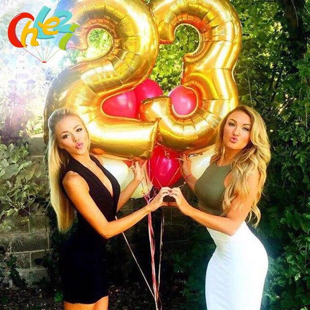 "1PC 3 サイズ 16 ""/32""/40 ""イードムバラクフィギュア箔番号バルーンフロートインフレータブルボール誕生日パーティー結婚式の装飾"
