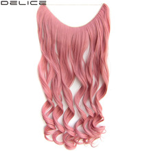 """DELICE 24"""" Women's Long Wavy Hair Extensions Invisible Fish Line Synthetic Curly Hairpiece 100g"""