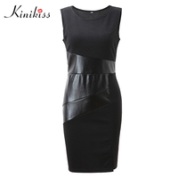 Kinikiss Women Office Dress 2017 Summer Black Sleeveless Bodycon Dress Spring Sheath Sexy Fashion Spring Elegant