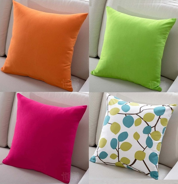 Solid Candy Colour Cushion Covers Orange Green Hot Pink Modern Minimalism Cushion  Cover Home Decorative Sofa