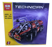 Lepin 20042 Science and Technology Machinery Baibian Airport Fire Truck Assembly Blocks Car Model Children's Toys