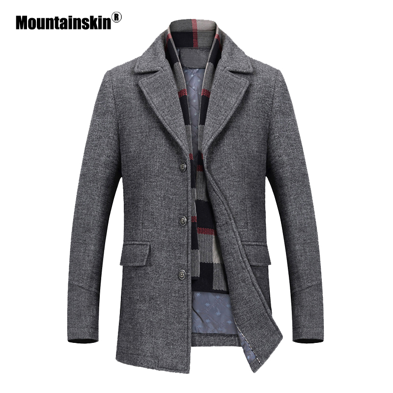 Generic Mens Long Sleeve Cotton Trench Coat Wool Blend Slim Fit Jacket Overcoat