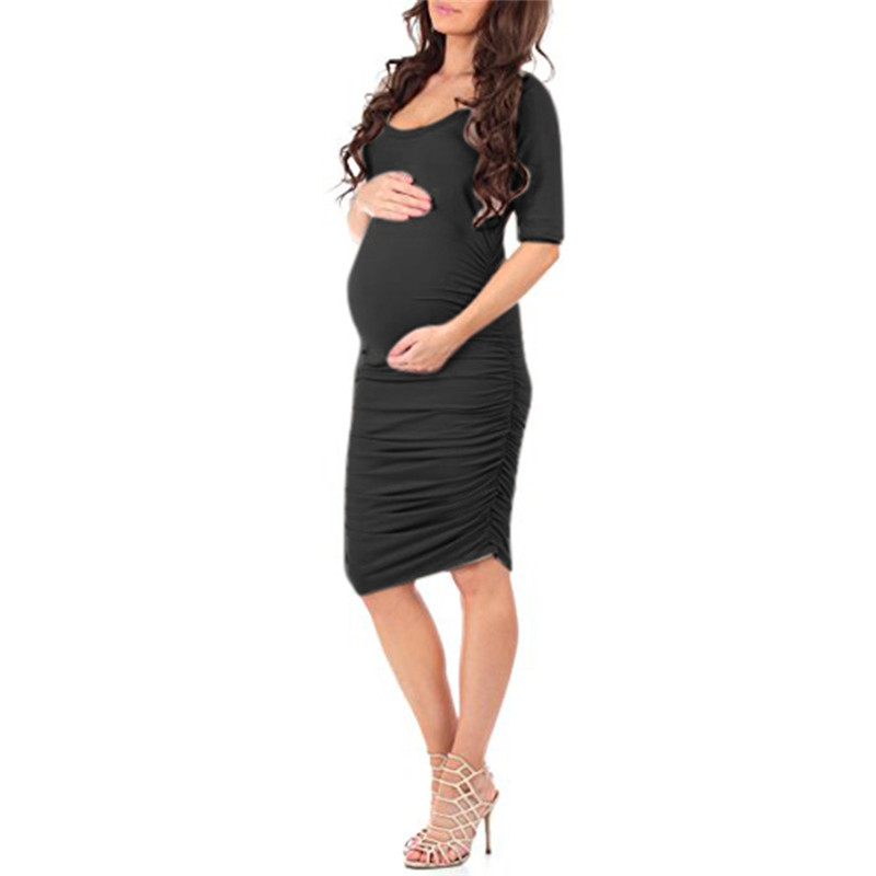 Telotuny Clothing For Maternityl Women Summer Wraped Ruched Maternity Pregnant Solid Short Sleeve Short Dress JU 19