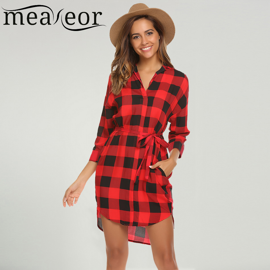 Meaneor Women Tunic Plaid Shirt Dress Belted Autumn Casual