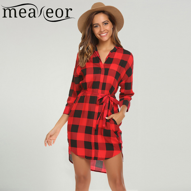 614d013c0e0 Meaneor Women Tunic Plaid Shirt Dress Belted Autumn Casual V Neck 3/4  Sleeve Knee-Length Button Femme Robe Loose Ladies Dresses
