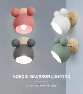 Image 5 - נורדי עץ קיר מנורות חמוד coloful קיר פמוטים מטבח מסעדה מקרון המיטה דקורטיבית מנורת E27