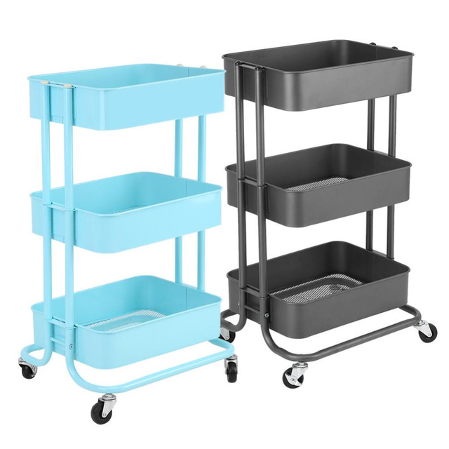 3 Tiers Storage Rack Trolley Cart Slim Rolling Trolley With Wheels Kitchen  Storage Decorative Wall Shelf
