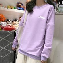 Harajuku Kawaii Cartoon Popeye Print Sweatshirt Womens Fall Japanese Sweet Long Sleeve Cute Schoolgirl Clothes