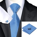 SN-1204 Classic Mens Blue Striped Hanky Cufflinks Tie Sets Silk Ties Formal Wedding Party Business Tie Sets