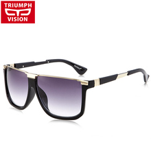 TRIUMPH VISION Half Frame Flat Top Sun Glasses For Men Brand Designer Gradient Lens Oculos 2017 New High Quality Male Sunglasses