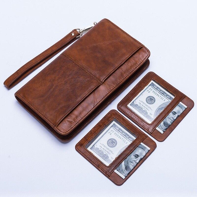 100% Genuine Leather men wallet zipper Long design Brand male wallets Vintage Large Capacity Mens Clutch Bag Phone Purse