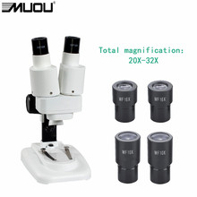 20-32X USB Binocular Stereo Microscope LED Light PCB Solder Mineral Specimen Watch Students Kids Science Education Phone Repair