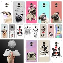Boston Terrier pug dog Caixa Do Telefone Para Samsung Galaxy A10 A20 A30 A40 A50 A60 A70 A6 A8 Plus A7 a9 2018 A3 A5 2017 Coque Capa(China)