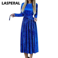 LASPERAL Women Maxi Long Casual Velvet Robe Dress Female Autumn Blue Long Sleeve Sashes Vintage Elegant